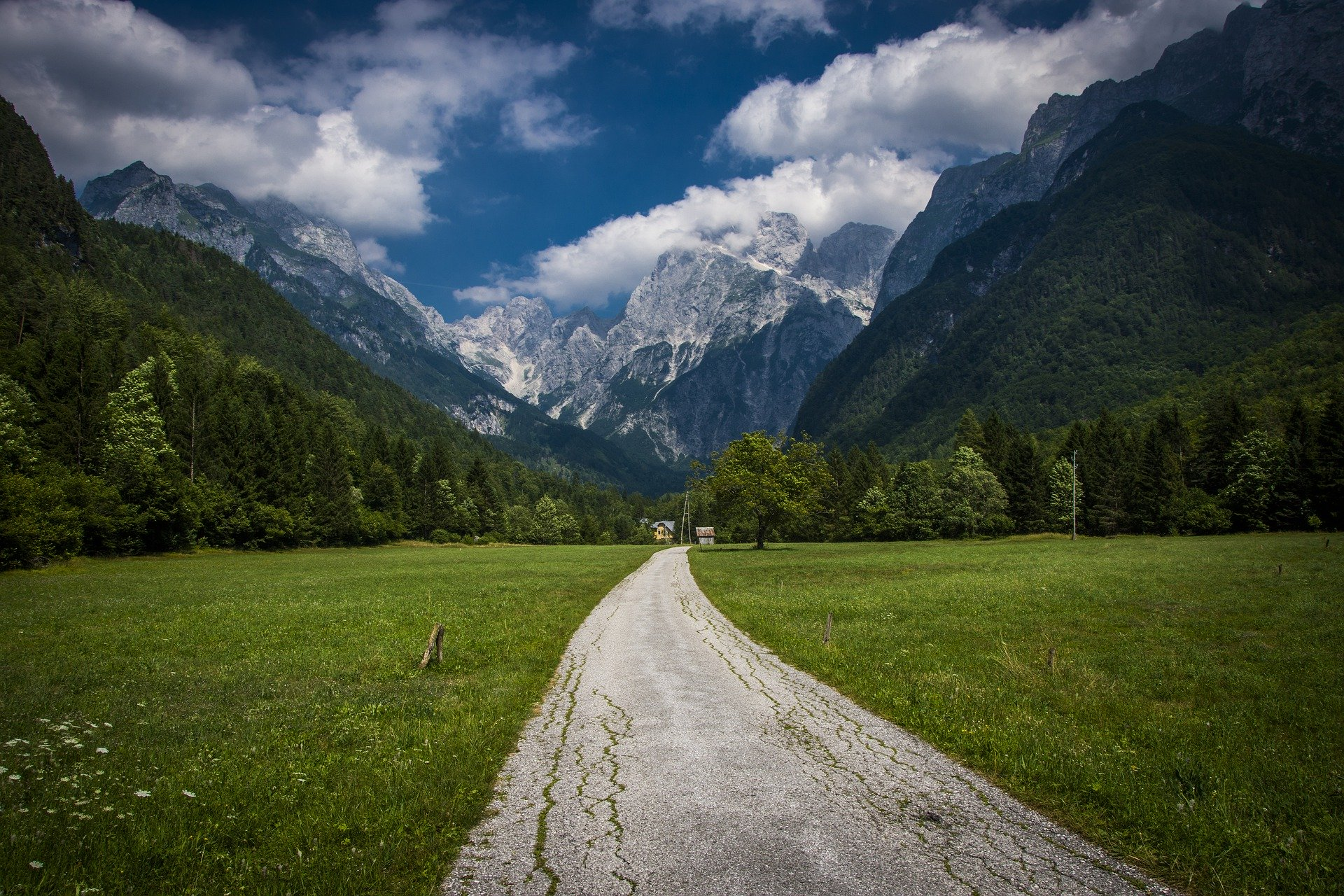 Chemin de terre dans une vallée dans les Alpes Juliennes en Slovénie